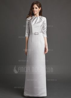 Sheath Scoop Neck Floor-Length Satin Mother of the Bride Dress With Ruffle Crystal Brooch (008006184)