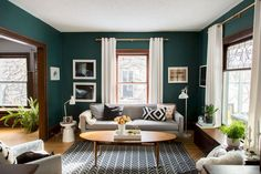 Other Scandinavian living room design ideas might include the balance between an inside and outdoor spaces. Let us show you some Scandinavian living room design ideas for you to get the gist of it and, who knows, find your new living room décor. Living Room Green, My Living Room, Home And Living, Living Spaces, Grey Living Room With Color, Modern Living Room Colors, Living Room Ideas Old House, Teal Living Room Paint, Carpet In Living Room