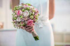 Round Wedding Bouquet Featuring: Pink Garden Roses, Pastel Pink Roses, Pink Spray Roses, Pink Astrantia, White Waxflower, Flower Buds ••••