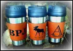 Leather Travel Mug Personalized Leather Coffee by BPLaserEngraving