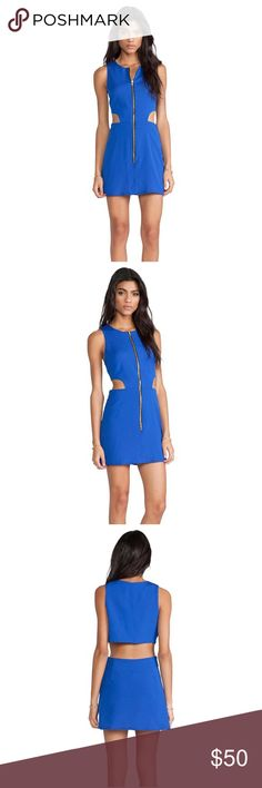 NWOT Naven Retro Cutout Dress in Vegas Blue Never worn - Trendy, sexy cutout mini dress from Naven. Beautiful Vegas Blue color pictures do not do color justice. Exposed zip front closure. Waist cut out. Self & Lining: 100% poly. Fully lined. Size 8. NWOT. Perfect for a summer wedding or night out. Naven Dresses Mini