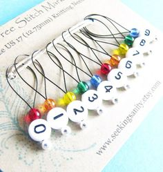 Snag Free Stitch Markers Large Set of 10 Rainbow by seekingsanity