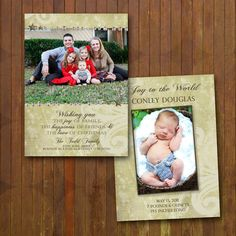 Vintage Christmas & Baby Announcement Card combo - double sided
