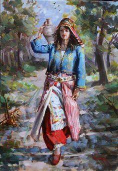Portrait of Turkish Village Girl Afghanistan Culture, Afrique Art, Art Optical, Turkish Art, Cute Photography, Arabic Art, Historical Art, Ceramic Painting, Woman Painting