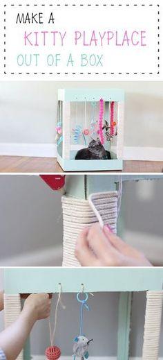 Your cat will LOVE this adorable DIY kitty playplace made out of a cardboard box! É verdade que por vezes pode dar um pouco de trabalho cuidar do seu #gato, quem tem um gato certamente sabe que muitas vezes vai trabalhar com cheiro a gato ou com a roupa cheia de pêlo, mas nada supera a amizade com gato!