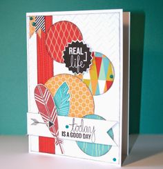 Karen Pedersen: Today is a Good Day Card and Mojo Monday #C1584Feathers #D1555AllTheDetails #ChevronEmbossingFolder