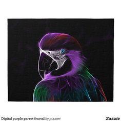 Digital purple parrot fractal jigsaw puzzle
