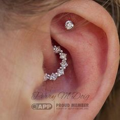 """Healed Daith Piercing with a white gold and diamond """"Tiffany"""" ring made of . - Healed Daith Piercing with a white gold and diamond """"Tiffany"""" ring made of … – Jewelry – - Faux Piercing Oreille, Innenohr Piercing, Spiderbite Piercings, Daith Piercing Jewelry, Bar Stud Earrings, Cartilage Earrings, Crystal Earrings, Diamond Earrings, Peircings"""