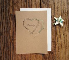 Wreath heart holiday card embroidery DIY kit by sanderandrye