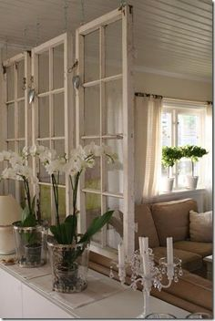 Old windows make a great room divider for a shabby chic decor! Old windows make a great room divider for a shabby chic decor! Old Window Frames, Window Wall, Window Frame Ideas, Frames Ideas, Window Frame Decor, Room Window, Old Window Headboard, Half Wall Decor, Hang From Ceiling Decor