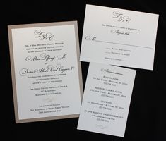 Champagne, Black & Cream Monogram & Scroll Formal Wedding Invitations