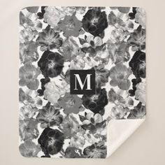 Wild Rose Pattern Black and White Monogram Sherpa Blanket - floral style flower flowers stylish diy personalize