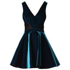 Emilio De La Morena V-neck velvet skater dress ($239) ❤ liked on Polyvore…