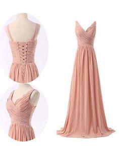 bridesmaid dress, blush pink bridesmaid dress, v-neck long chiffon bridesmaid dress, wedding party dress