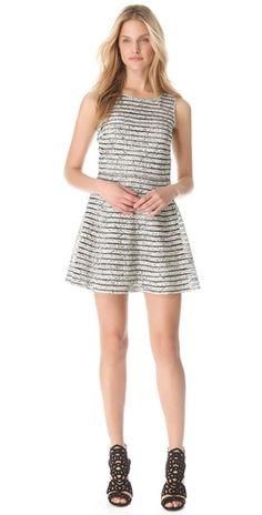 Stripe Mesh Parker Dress