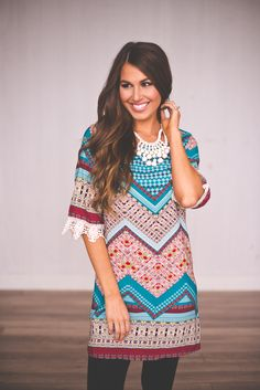 Dottie Couture Boutique - Teal Printed Dress, $48.00 (http://www.dottiecouture.com/teal-printed-dress/)