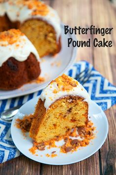 Butterfinger Pound Cake: Enjoy a cake with a crispety, crunchety, peanut-buttery kick of Butterfinger inside and out! Pound for pound, it's one of the Butterfinger-est cakes around.