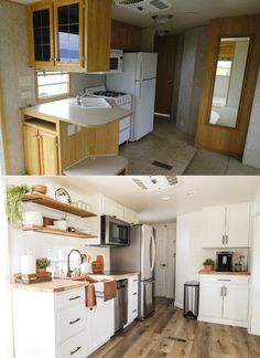 You HAVE TO check out this RV kitchen remodel before and after! I'm so glad I found these tiny kitchen ideas, definitely going to use these to organize our small kitchen! Pinning this RV kitchen layout and decor ideas for later! Kitchen Design Small, Diy Kitchen Remodel, Kitchen Remodel, Kitchen Remodel Small, Kitchen Layout, Tiny Kitchen, Diy Kitchen, Kitchen Renovation, Kitchen Design