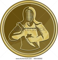 Illustration of a kendo kendoka swordsman with bamboo sword or shinai  and protective armour or b��gu set inside gold brass coin medal viewed from front done in retro style. #kendo #retro #illustration
