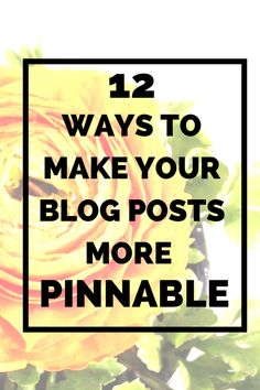 12 Ways to make your blog posts more pinnable - how to make images better etc, useful post!