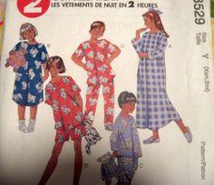 McCALLS Sewing Pattern 8529 - Children's SleepWear SZ XS-S