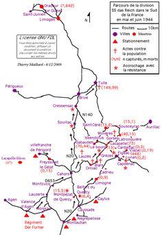 1939 1945 Parcours de la 2e Panzerdivision SS Das Reich en mai et juin 1944.