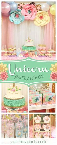 Take a look at this gorgeous Unicorn 1st birthday party! The dessert table is magical!! See more party ideas and share yours at CatchMyParty.com #unicorn #girlbirthday #1stbirthday