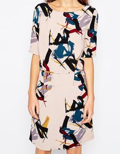 ASOS Selected Tara Dress in Brush Stroke Print