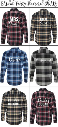 Personalized flannel shirts for everyone in the bridal party from PersonalizedBrides.com!
