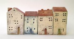 set of 4 ceramic houses in a row  made in high fired by VGCLAYART