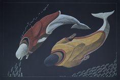 """Edna and Sedna"" (2014) - Tim Pitsiulak (Inuit) Medium: graphite, coloured pencil, paper (black). Size: 30 x 43.75 inches."