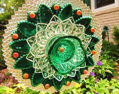 vintage glass garden art plate flower glass art by ADelicateTouch1