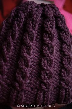 Ravelry: Project Gallery for Loom Knit Cable Hat and Wristers (Hat) pattern by Lion Brand Yarn