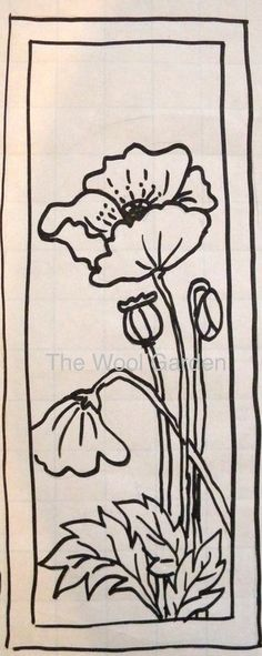 POPPIES- this pattern has been hand drawn on linen backing. Available in two sizes. I have allowed a 3.5-4 inch border to make it easy to attach to