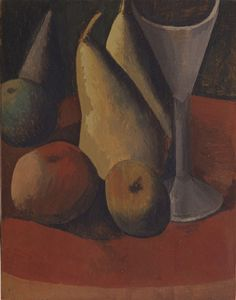 Still Life with Fruit and Glass  Pablo Picasso (Spanish, 1881-1973)    Paris, fall 1908. Tempera on wood #picasso #stilllife #fruit