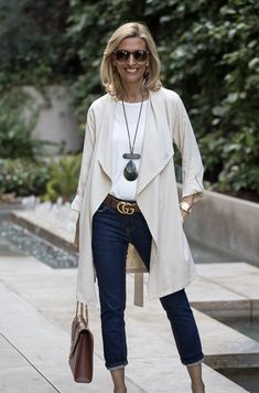 Looking Chic In Our Butter Cascading Collar Belted Duster Coat Over 60 Fashion, Over 50 Womens Fashion, Casual Outfits, Fashion Outfits, Fashion Trends, Coats For Women, Clothes For Women, Moda Chic, Fashion Blogger Style