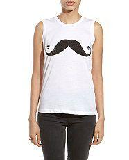 White (White) White Moustache Tank Top  | 261465910 | New Look