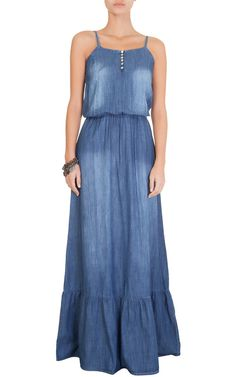 Online shopping from a great selection at Clothing, Shoes & Jewelry Store. Denim Maxi Dress, Jeans Dress, Dress Skirt, Casual Chic, Casual Wear, Casual Dresses, Summer Dresses, Boho Chic, Denim Fashion