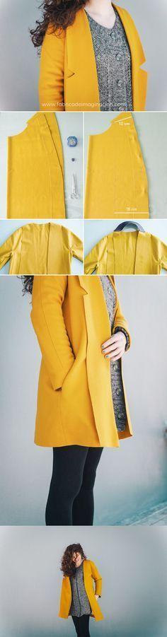 DIY Mustard Coat + XL Lapels · DIY Abrigo Mostaza con Solapas XL · Fábrica de Imaginación · Steps in Spanish