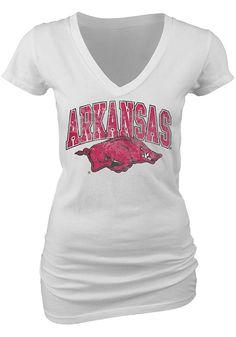 Arkansas Razorbacks Blue 84 Womens White V-Neck T-Shirt http://www.rallyhouse.com/shop/arkansas-razorbacks-arkansas-razorbacks-blue-84-womens-white-vneck-tshirt-573234?utm_source=pinterest&utm_medium=social&utm_campaign=Pinterest-ArkansasRazorbacks $21.99
