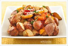 Balsamic Roasted Sausage, Sweet Peppers & Red Bliss Potatoes. (I think the key word here is BLISS.)
