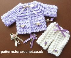 CROCHET BABY GIRL Free baby crochet pattern micro preemie set usa Size to fit: approx in length micro Premature Baby Preemie Crochet, Baby Girl Crochet, Crochet For Kids, Free Crochet, Baby Doll Clothes, Crochet Doll Clothes, Baby Dolls, Crochet Baby Sweaters, Baby Knitting