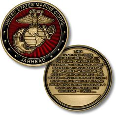 THIS ITEM CAN ONLY BE SHIPPED WITHIN THE U.S. The United States Marine Corps Jarhead challenge coin honors the qualities of every Marine: valor, leadership, duty and patriotism. The Marine Oath to His