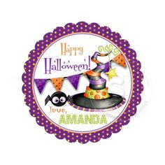 Happy Halloween Customized Printable Tags- Witch Hat Thank you Tag- DIY Personalized Scallop Circle tags-Digital File Printable Tags, Printables, Thank You Tags, Halloween 2, Personalized Tags, Diy Stickers, Sticker Paper, Holidays And Events, Party Favors