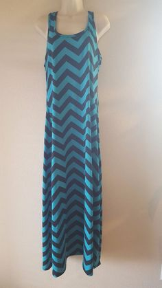 Faded Glory Womens SZ M (8-10) Maxi Chevron Tank Racerback Dress Sleeveless  #FadedGlory #TankMaxiMaxi #Casual