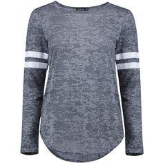 Boohoo Una Burnout Baseball Long Sleeve T-Shirt | Boohoo ($10) ❤ liked on Polyvore featuring tops, t-shirts, shirts, sweaters, burnout t shirt, long sleeve baseball shirts, basic t shirt, baseball shirt and polyester t shirts