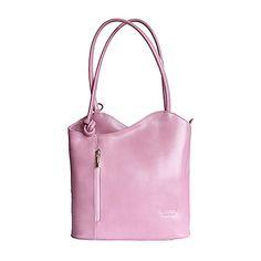 Multi-Way Pink Leather Shoulder Bag/Backpack - £49.99