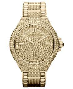 Michael Kors Women's Camille Crystal-Covered Gold-Tone Stainless Steel Bracelet Watch 44mm MK5720   juwelier-haeger.de
