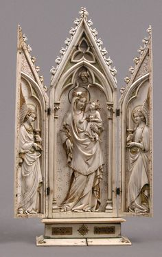 Triptych with the Coronation of the Virgin, German, Ivory