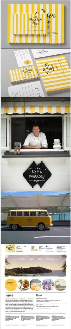The Oyster / branding / business cards / logo / identity / yellow / stripes / bright / restaurant | brand it | Pinterest